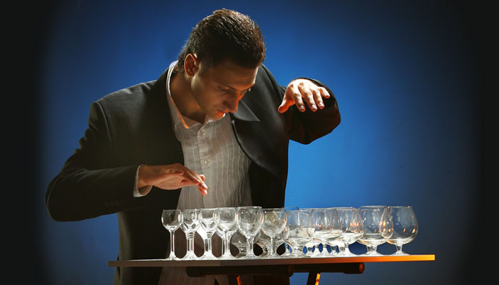 Alexander Lemeshev on glass harp